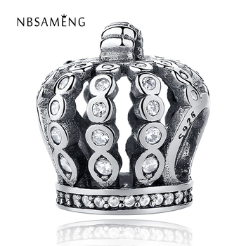 Authentic 925 Sterling Silver Bead Charm Cute Crown with Crystal Beads Fit Original Pandora Bracelets & Bangles DIY Jewelry 20085